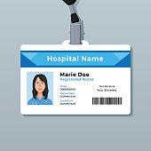 Nurse ID card. Medical identity badge template