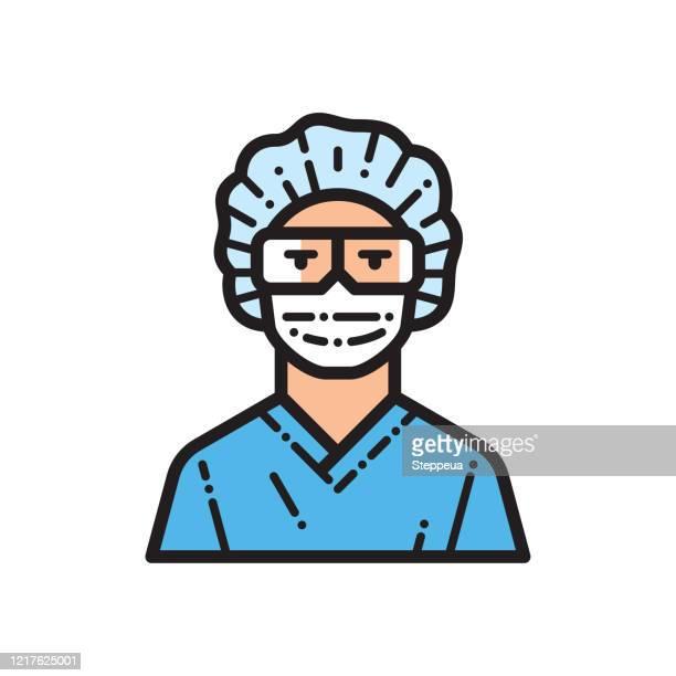 nurse line icon - scrubs stock illustrations