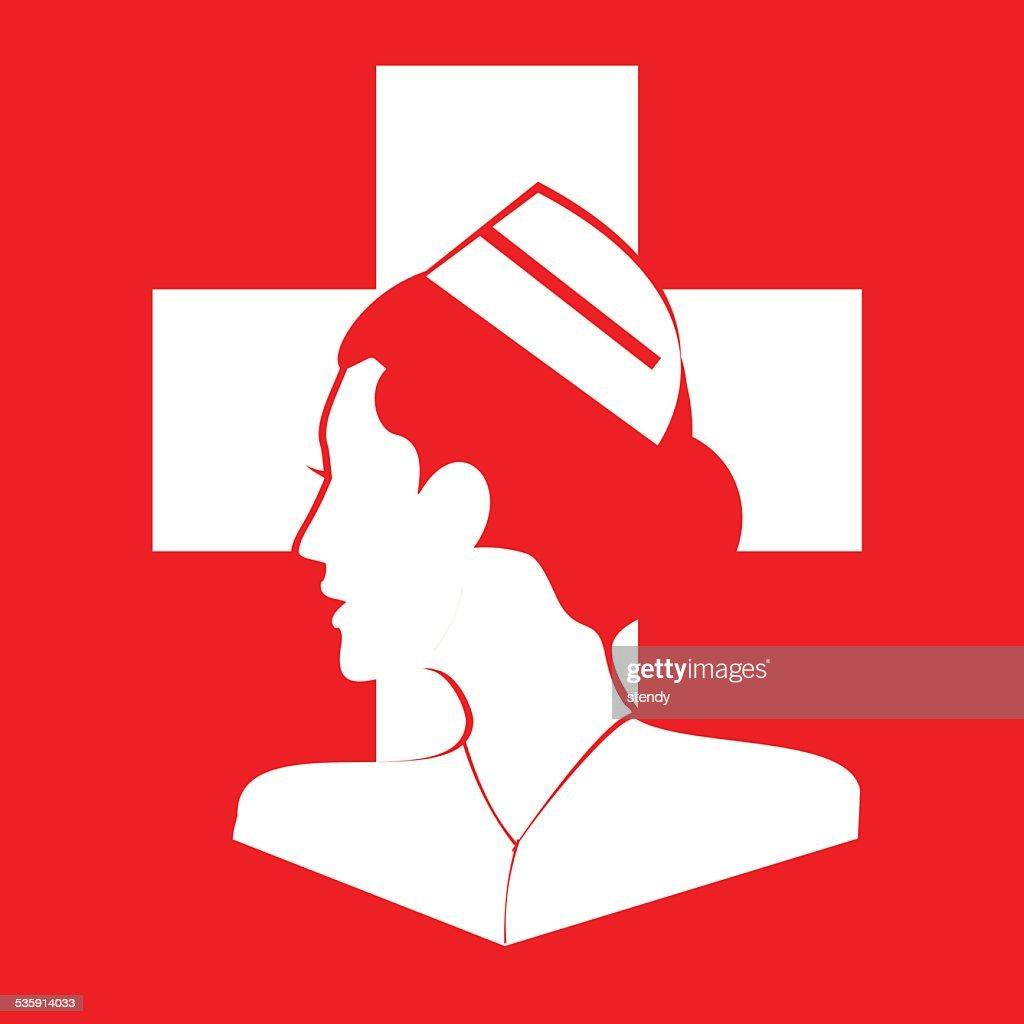 El personal de enfermería. Perfil personal de enfermería : Arte vectorial