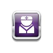 Nurse Purple Vector Icon Button