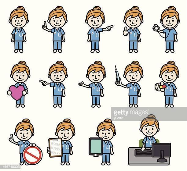 ilustrações de stock, clip art, desenhos animados e ícones de enfermeira conjunto - proibido celular