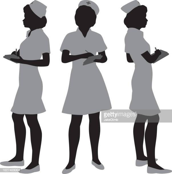 nurse silhouettes - cap hat stock illustrations, clip art, cartoons, & icons