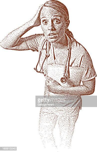 ilustraciones, imágenes clip art, dibujos animados e iconos de stock de enfermera con sorprendida expresión - enfermera