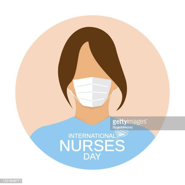 ilustraciones, imágenes clip art, dibujos animados e iconos de stock de icono del día de las enfermeras. mujer con mascarilla médica. vector - asistente de enfermera