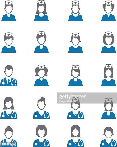 看護師アイコン - ナースステーション点のイラスト素材/クリップアート素材/マンガ素材/アイコン素材