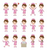 Nurses in pink uniform, various poses and facial expressions