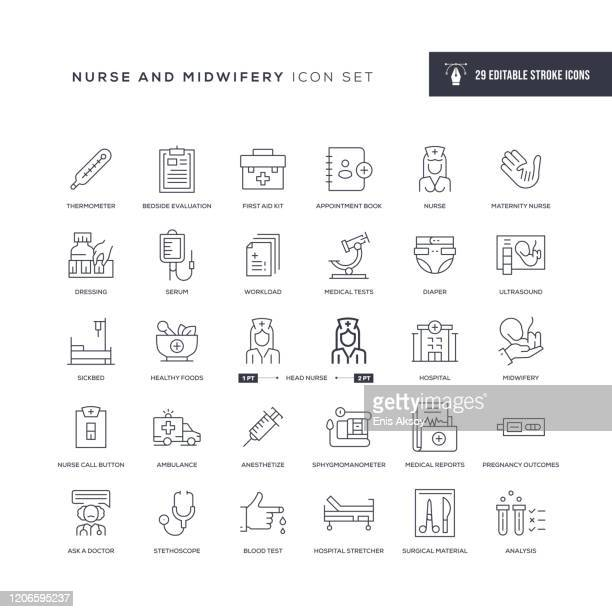 nursing and midwifery editable stroke line icons - ambulance stock illustrations