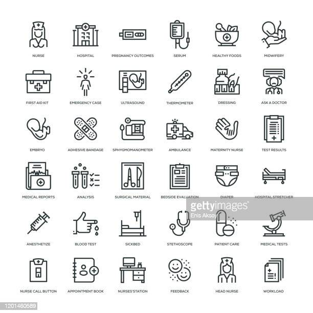 nursing and midwifery icon set - human embryo stock illustrations