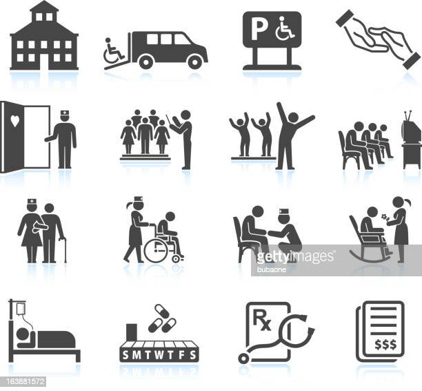 Nursing Home and daycare adult care senior living icon set