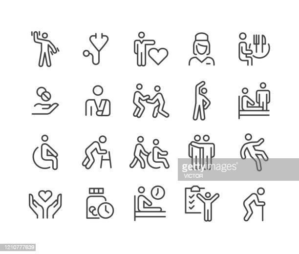 ilustraciones, imágenes clip art, dibujos animados e iconos de stock de iconos del hogar de enfermería - classic line series - visita
