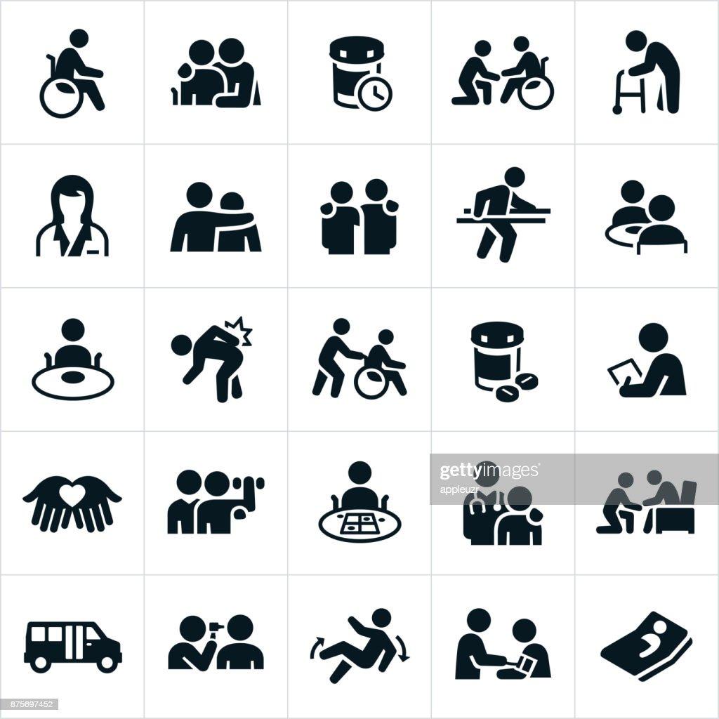 Verpleeghuis pictogrammen : Stockillustraties