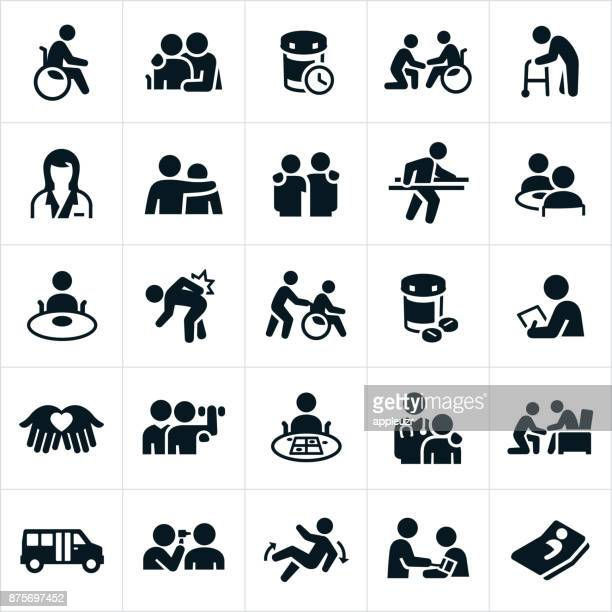 nursing home icons - medical exam stock illustrations