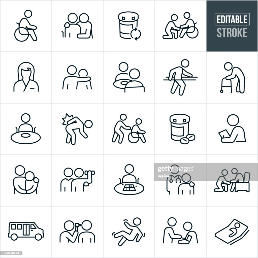 Nursing Home Thin Line Icons - Editable Stroke : stock illustration