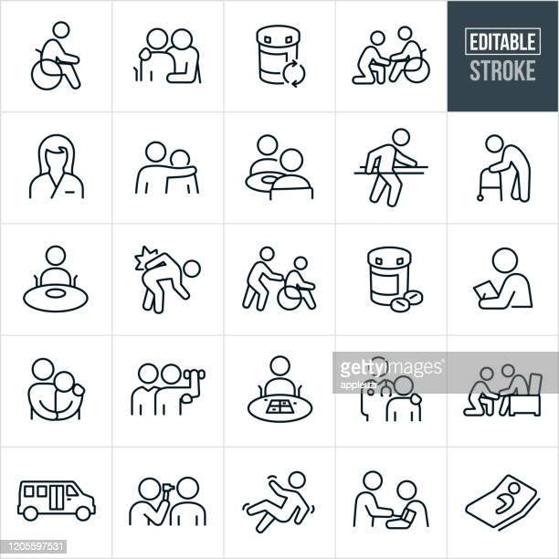 nursing home thin line icons - editable stroke - old stock illustrations