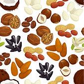 Nut, bean, seed, grain seamless pattern background