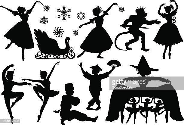 ilustrações, clipart, desenhos animados e ícones de silhuetas de balé quebra-nozes - cultura russa