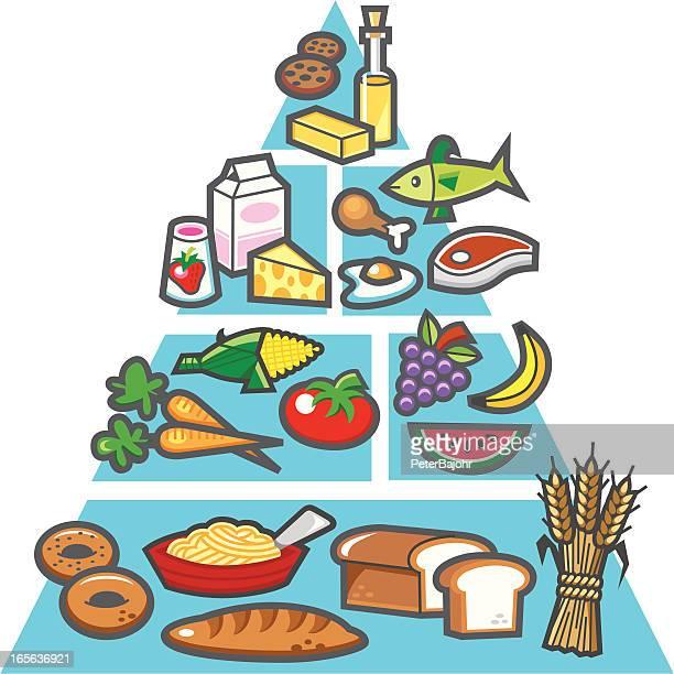 nutrition chart - food pyramid stock illustrations