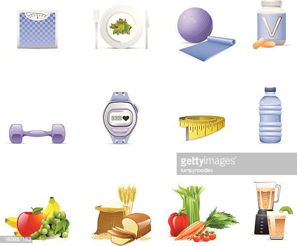 nutrition & fitness icons - hand weight stock illustrations