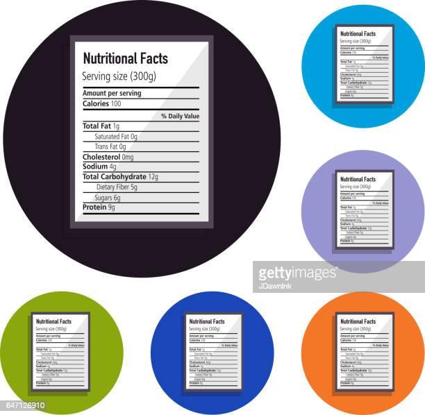 nutritional label set of icons - information medium stock illustrations