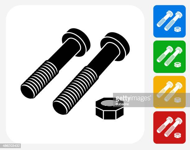 stockillustraties, clipart, cartoons en iconen met nuts and bolts icon flat graphic design - nut bolt