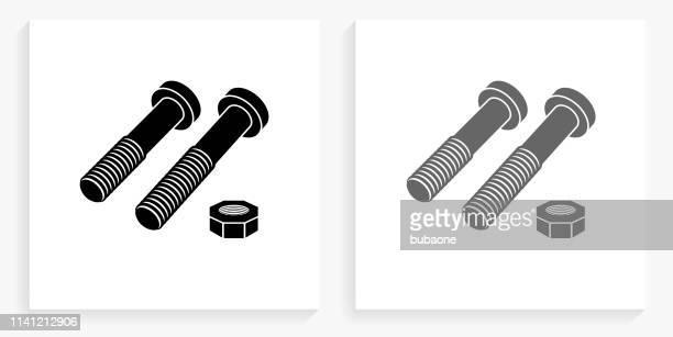 stockillustraties, clipart, cartoons en iconen met moeren & bouten zwart en wit vierkant pictogram - nut bolt