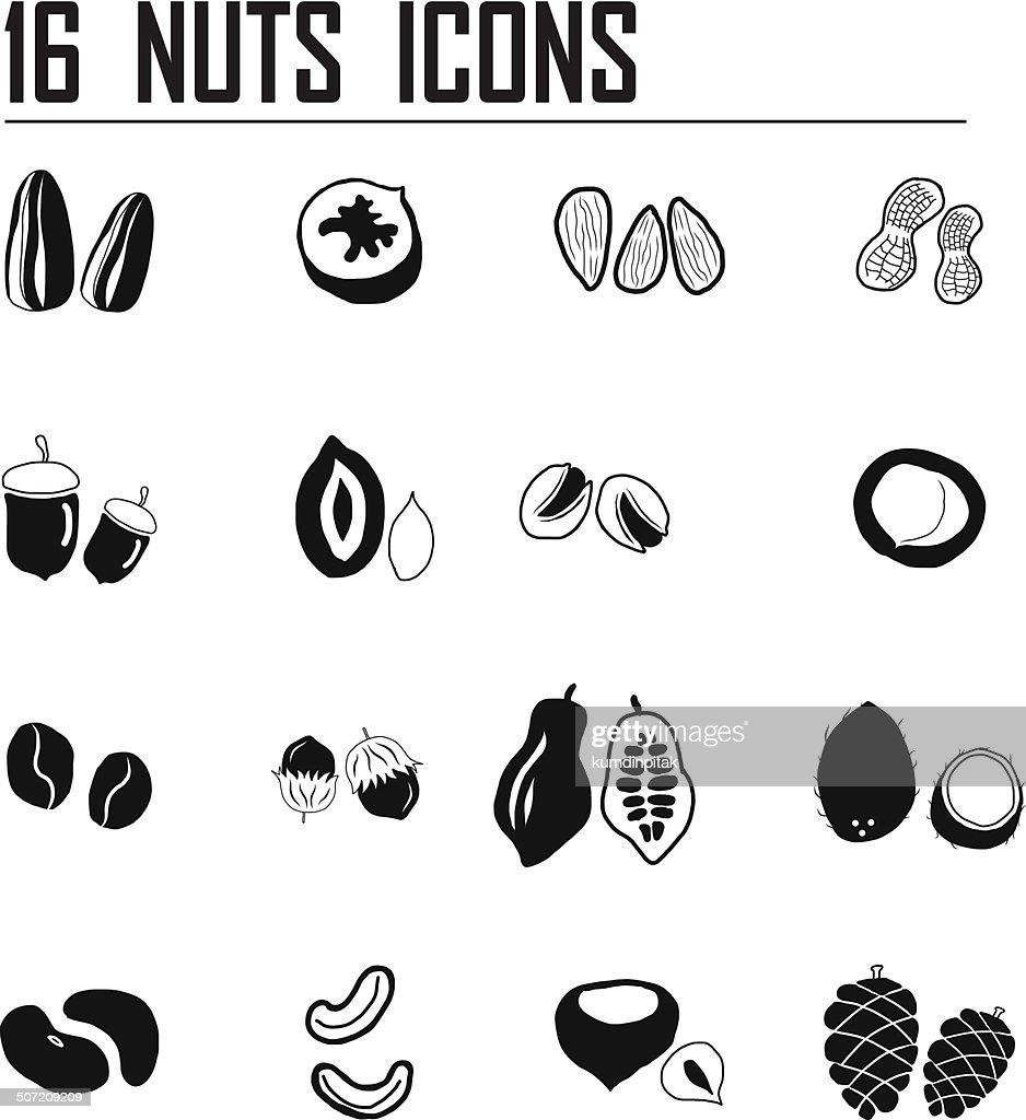 16 Nuts icon set