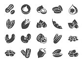 Nuts, seeds and beans icon set. Included icons as walnut, sesame, green beans, coffee, almond, pecan and more.
