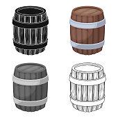 Oak barrel beer. A barrel in which beer is brewed. Pub single icon in cartoon style vector symbol stock  web illustration.