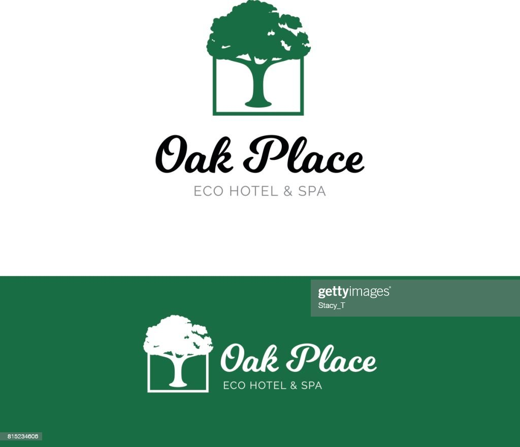 Oak emblem for hotel and spa salon. Eco nature symbol with tree