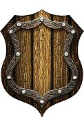 oak Gothic knight's shield with rivets