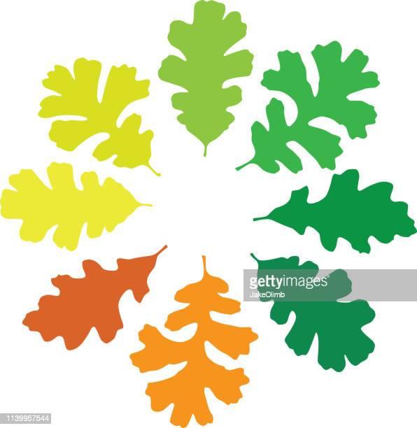 oak leaf circle - oak leaf stock illustrations