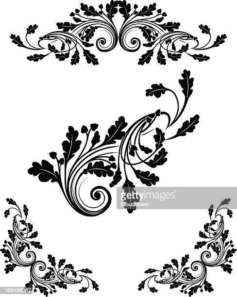 oak leaf scrollwork - oak leaf stock illustrations