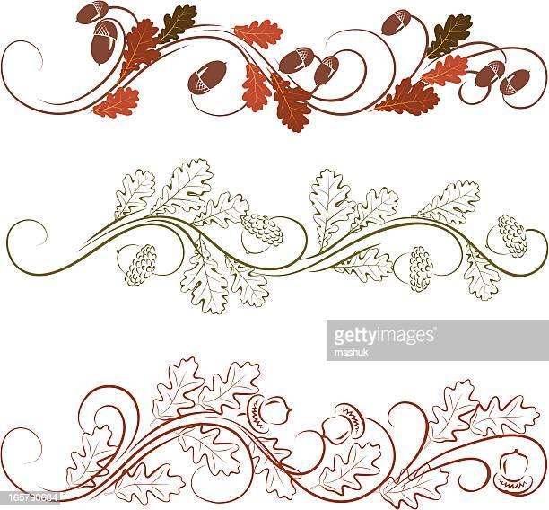 oak leaves ornament - oak leaf stock illustrations