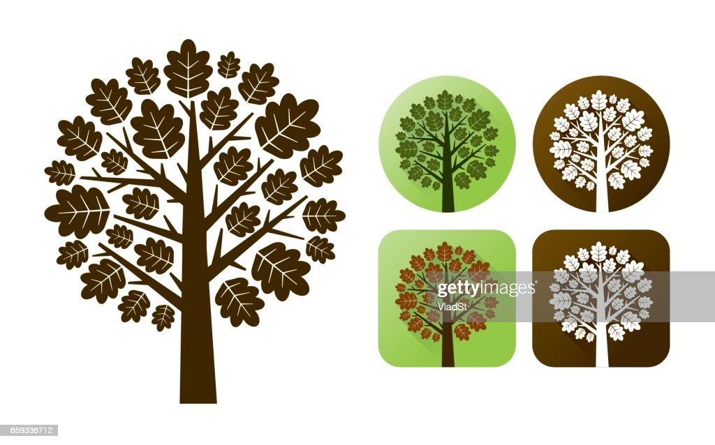 Oak tree branhes autumn leaves nature icons