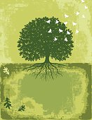 Oak Tree With Birds Flying Texture Background