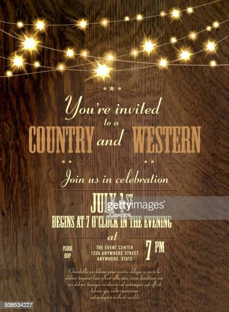 Oak Wood Country Western Invitation Design Template