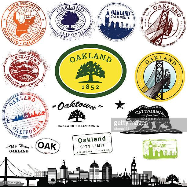 oakland california stamp graphics - oakland california skyline stock illustrations