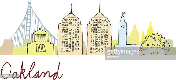 oakland cityscape - oakland california stock illustrations