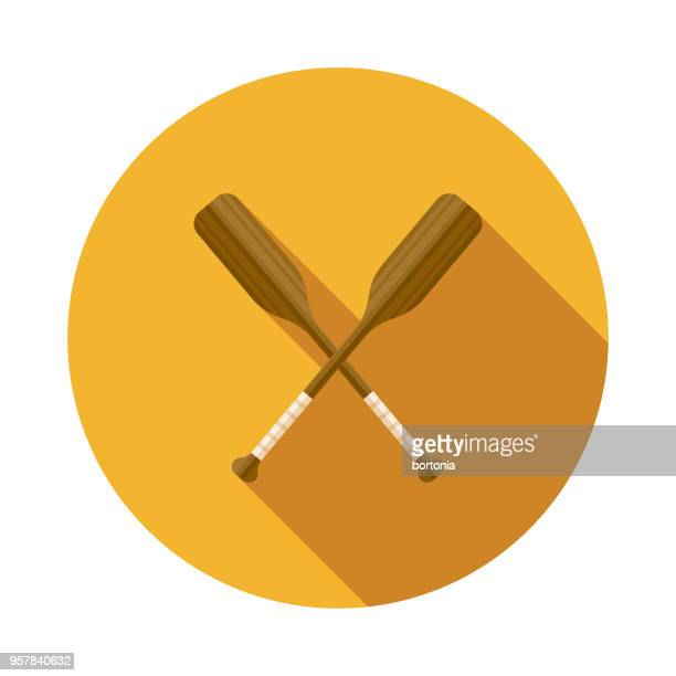 Oars Flat Design Sports Icon with Side Shadow