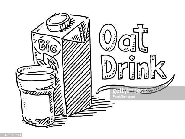 Hafer-Drink Verpackung Glas Zeichnung