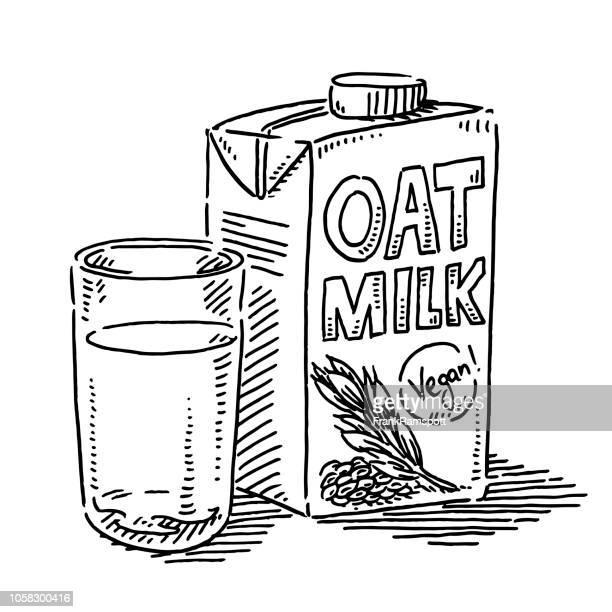 Hafer Milchglas Vegan trinken Zeichnung