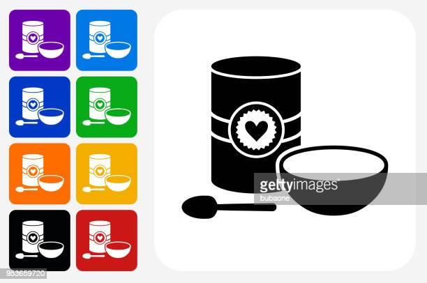 stockillustraties, clipart, cartoons en iconen met havermout en kom pictogram vierkante knop set - breakfast cereal