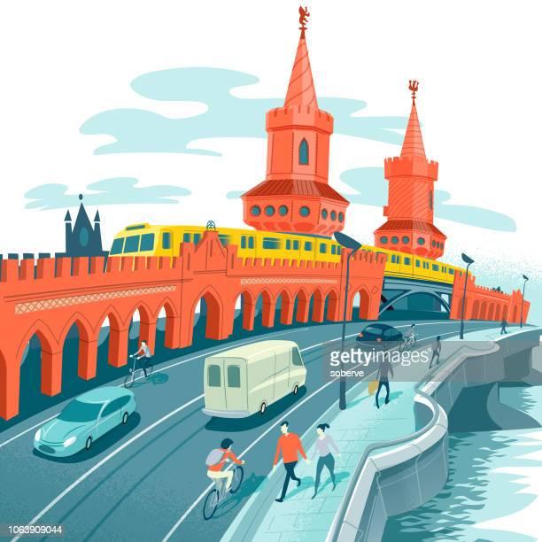 ilustrações, clipart, desenhos animados e ícones de oberbaumbrucke - ponto turístico internacional