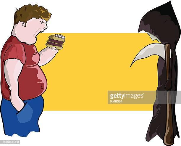 ilustraciones, imágenes clip art, dibujos animados e iconos de stock de obesidad mata (vector - obesidad infantil