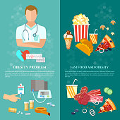Obesity problems banner unhealthy eating nutritionist and diet vector illustration