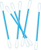 Object illustration utensil flexible rod with cotton swab