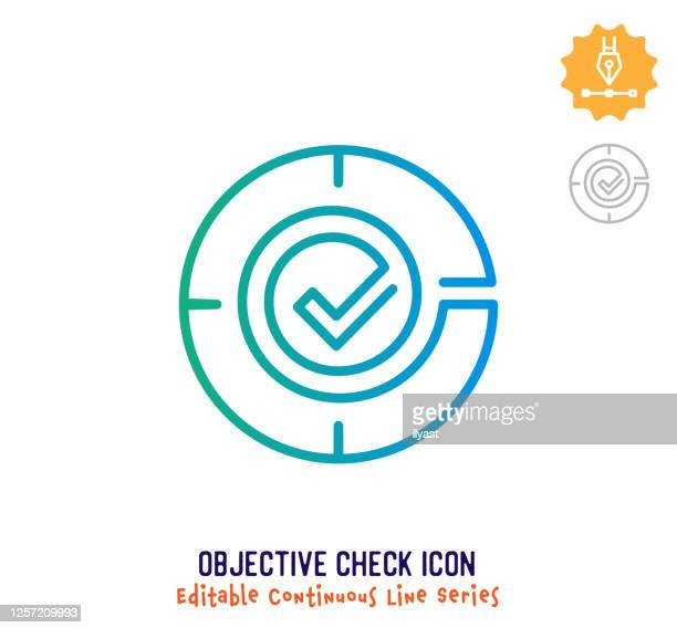 objective check continuous line editable stroke line - lebensziel stock-grafiken, -clipart, -cartoons und -symbole