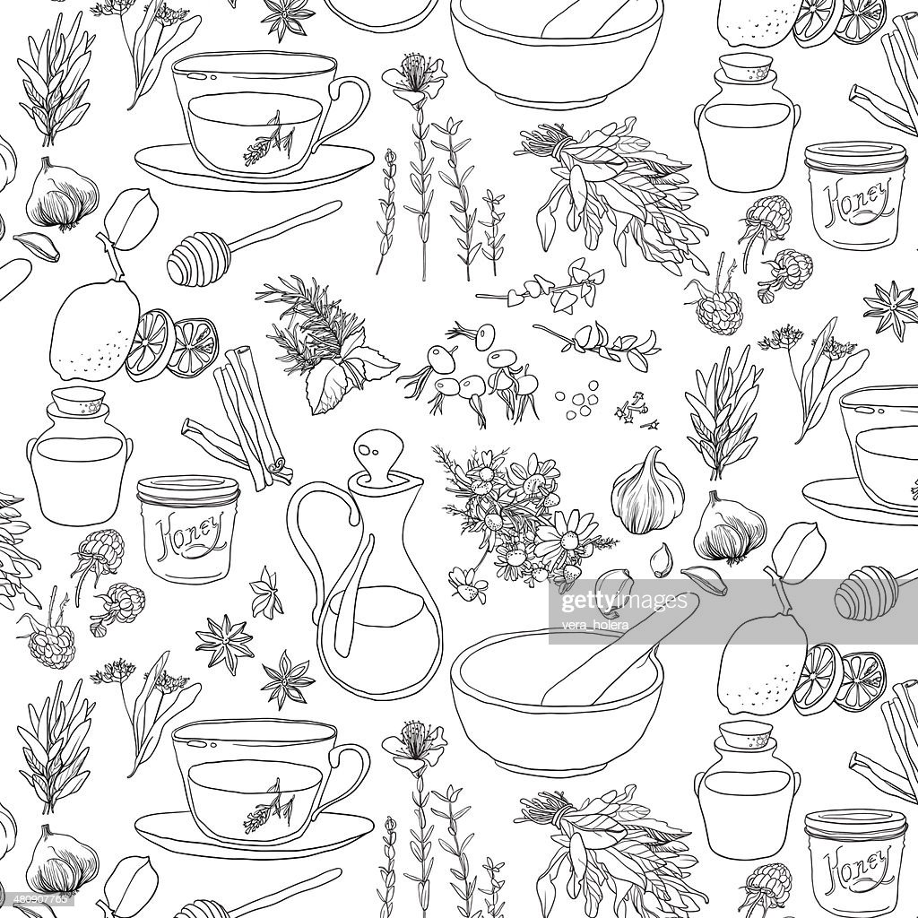 Objects and herbs to treat colds.