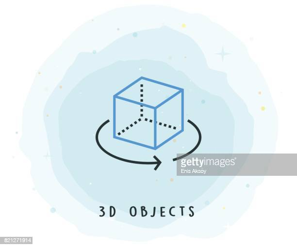 3D Objects Icon with Watercolor Patch