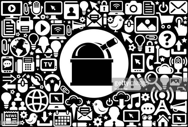 Observatory Icon Black and White Internet Technology Background